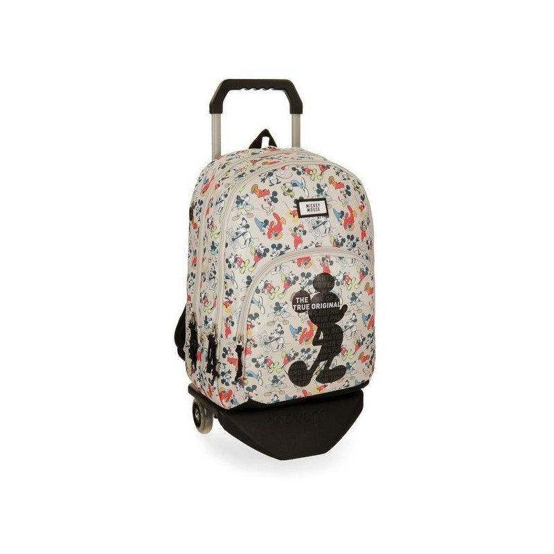 Mochila con carro Mickey True Original 44cm 2 compartimentos