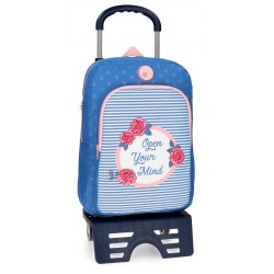 Mochila escolar Roll Road Rose 40cm con carro