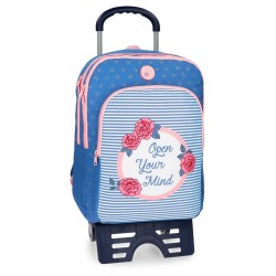 Mochila con carro Roll Road Rose 42cm 2 compartimentos