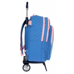 Mochila escolar Roll Road Rose doble compartimento 42cm con carro