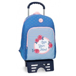 Mochila escolar Roll Road Rose 44cm con carro