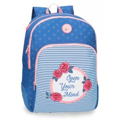 Mochila escolar Roll Road Rose doble compartimento 44cm adaptable a carro
