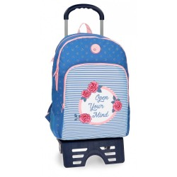 Mochila escolar Roll Road Rose doble compartimento 44cm con carro