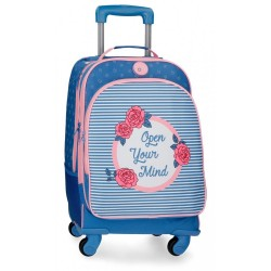 Mochila Trolley Roll Road Rose 4 ruedas
