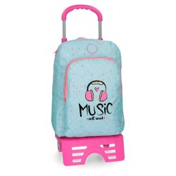 Mochila escolar Roll Road Music 40cm con carro