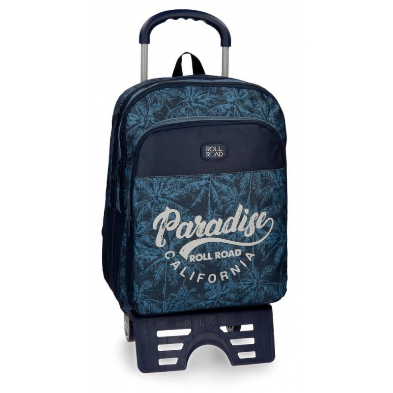 Mochila escolar Roll Road Palm doble compartimento 42cm con carro