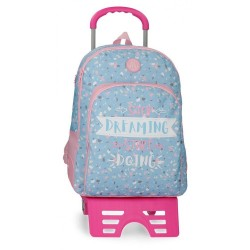 Mochila Doble Compartimento 44cm con Carro Roll Road Dreaming