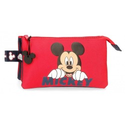 Estuche Happy Mickey tres compartimentos