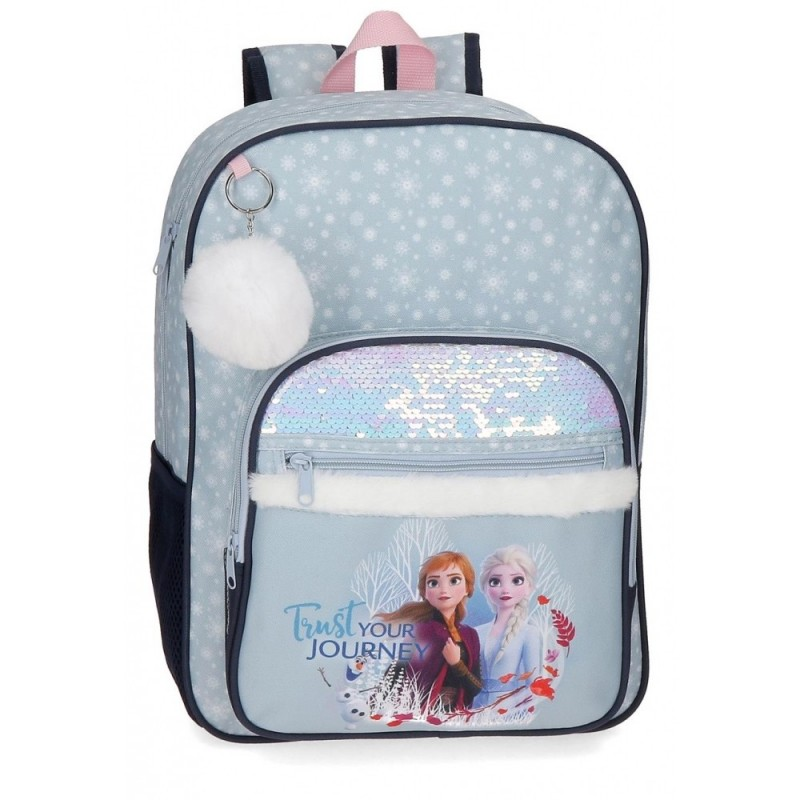 Mochila Frozen con lentejuelas Trust your journey escolar 38cm
