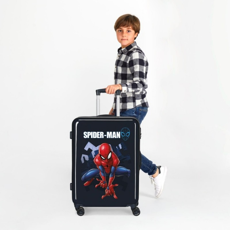 Maleta Mediana Spiderman Action rígida 68cm Azul