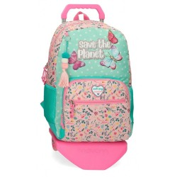 Mochila Escolar Movom Save the Planet con Carro